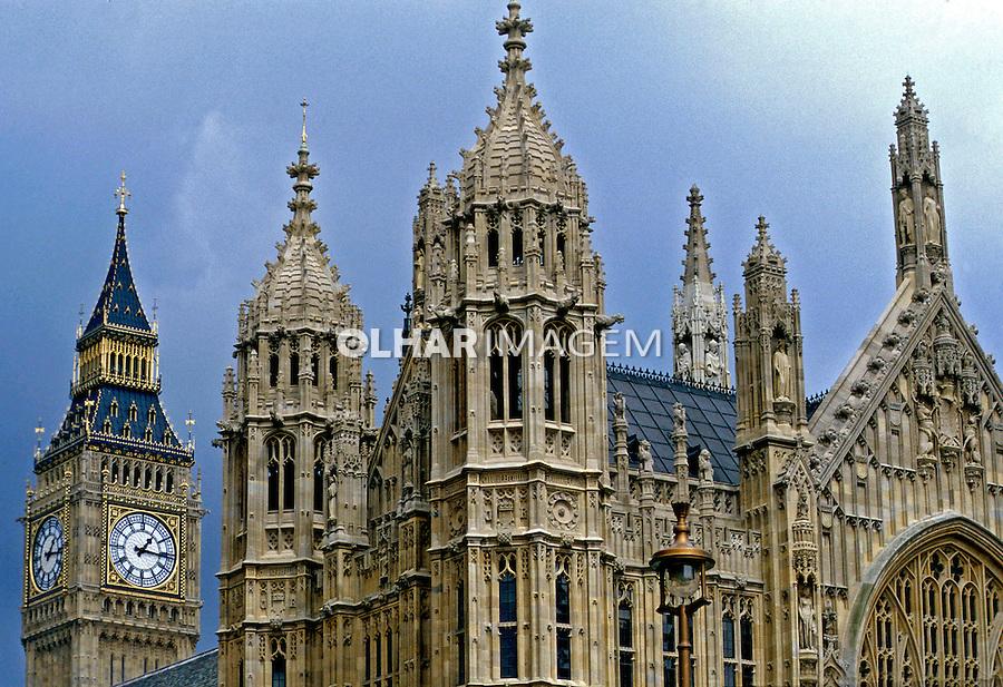 Edifício do Parlamento e Big Ben em Londres. Inglaterra. 1990. Foto de Paula Simas