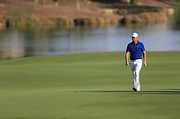 Lucas Bjerregaard (DEN) on the 18th during the 1st round of the DP World Tour Championship, Jumeirah Golf Estates, Dubai, United Arab Emirates. 15/11/2018<br /> Picture: Golffile | Fran Caffrey<br /> <br /> <br /> All photo usage must carry mandatory copyright credit (&copy; Golffile | Fran Caffrey)