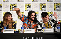 FX FEARLESS FORUM AT SAN DIEGO COMIC-CON© 2019: L-R: Cast Members Natasia Demetriou, Kayvan Novak and Harvey Guillén during the WHAT WE DO IN THE SHADOWS panel on Saturday, July 20 at SAN DIEGO COMIC-CON© 2019. CR: Frank Micelotta/FX/PictureGroup © 2019 FX Networks