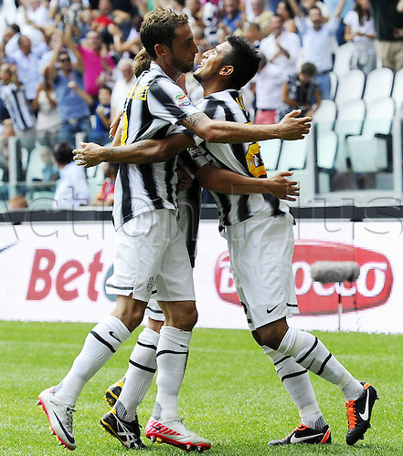 11 09 2011  Turin, Italy. Series A Juventus versus Parma.  Photo Goal celebratons from Arturo Vidal of Juve