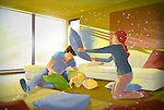 Illustration of family pillow fighting in living room