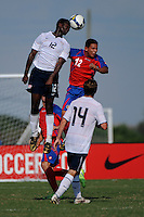 Ike Olpara (12) of the USA and Rafael Lexcano (12) of Costa Rica go up for a header. The US U-20 Men's National Team defeated the U-20 Men's National Team of Costa Rica 2-1 in an international friendly during day four of the US Soccer Development Academy  Spring Showcase in Sarasota, FL, on May 25, 2009.