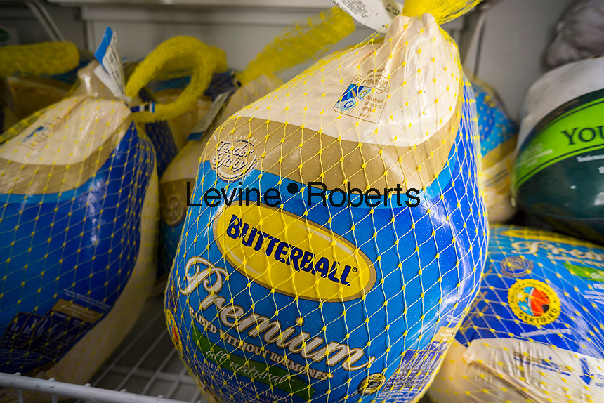 Butterball brand frozen Turkeys for sale in a supermarket in New York on Saturday, November 19, 2016. (© Richard B. Levine)