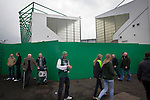 Fans making their way past the Famous Five Stand (right) and the East Stand at Easter Road stadium before the Scottish Championship match between Hibernian and visitors Alloa Athletic. The home team won the game by 3-0, watched by a crowd of 7,774. It was the Edinburgh club's second season in the second tier of Scottish football following their relegation from the Premiership in 2013-14.