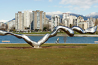 Freezing Water stainless steel sculpture by Jun Ren,  Vanier Park, Vancouver, British Columbia, Canada This project was part of the Vancouver, Biennale, a non-profit event that promotes public art.