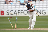 Jeetan Patel of Warwickshire is bowled out by Aaron Beard during Essex CCC vs Warwickshire CCC, Specsavers County Championship Division 1 Cricket at The Cloudfm County Ground on 14th July 2019