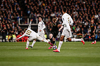26th February 2020; Estadio Santiago Bernabeu, Madrid, Spain; UEFA Champions League Football, Real Madrid versus Manchester City; Luka Modric (Real Madrid) challenges for control of the ball with Kevin De Bruyne (Manchester City)