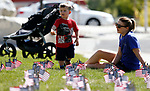Amanda Jacobson and her son Joseph, 2, participate in the 5th annual Veterans Suicide Awareness March, hosted by the Western Nevada College Veterans Resource Center, in Carson City, Nev., on Saturday, May 4, 2019. <br /> Photo by Cathleen Allison/Nevada Momentum