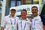 Australian Team leaders (and chef de missions') Nick Dean, Darren Peters and Paul Bird enjoy a moment's relaxation at the Australian team headquarters in the Paralympic Village