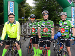 Richard DeCourcey, Rusanda Clarke, Mark Boyle and Sean Holdcroft who took part in the IMND 200k Cycle from Dunleer to Ballinasloe. Photo:Colin Bell/pressphotos.ie
