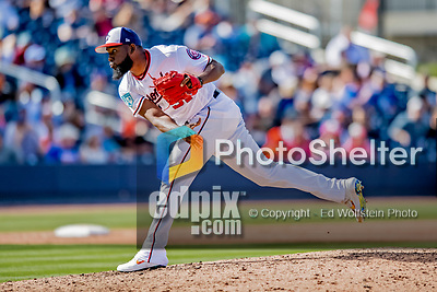 7 March 2019: Washington Nationals pitcher Wander Suero on the mound in the 7th inning of a Spring Training Game against the New York Mets at the Ballpark of the Palm Beaches in West Palm Beach, Florida. The Nationals defeated the visiting Mets 6-4 in Grapefruit League, pre-season play. Mandatory Credit: Ed Wolfstein Photo *** RAW (NEF) Image File Available ***