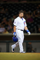 Mesa Solar Sox designated hitter Kyle Schwarber (66), of the Chicago Cubs, walks back to the dugout after grounding out in the bottom of the first inning during a game against the Salt River Rafters on October 22, 2016 at Sloan Park in Mesa, Arizona.  It was the first game action for Schwarber who was injured April 7th and underwent surgery to repair two ligament tears in his left knee.  Salt River defeated Mesa 7-2.  (Mike Janes/Four Seam Images)