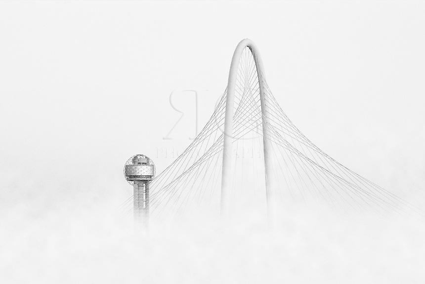 With the Dallas skyline engulfed in fog, all that was visible were the Bridge and Reunion Tower in the distance.
