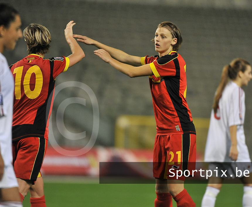 20130921 - BRUSSELS , BELGIUM : Belgian Yana Daniels  pictured during the female soccer match between Belgium and Albania , on the first matchday in group 5 of the UEFA qualifying round to the FIFA Women World Cup in Canada 2015 at the Koning Boudewijn Stadion , Brussels . Saturday 21th September 2013. PHOTO DAVID CATRY