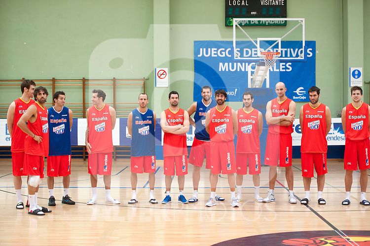 Spain's Victor Calver, Victor Sada, Pau Ribas, Rudy Fernandez, Sergio Rodriguez, Rafa martinez, Felipe Reyes, Juan Carlos Navarro, Jose Manuel Calderon, Xabi Rey, Fernando San Emeterio and Xabi Rabaseda during training session..(Alterphotos/Ricky)
