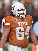 09 September 2006: Texas player Kasey Studdard pauses between warmups prior to the Longhorns 24-7 loss to the Ohio State Buckeyes at Darrell K Royal Memorial Stadium in Austin, TX.