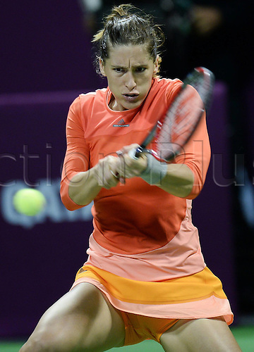 26.02.2016. Doha, Qatar.  Andrea Petkovic of Germany competes during her womens singles quarterfinal match against Garbine Muguruza of Spain at the WTA Tennis Damen Qatar Open 2016 in Doha, Qatar, Feb. 25, 2016. Andrea Petkovic won 2-1.