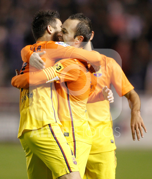 FC Barcelona's David Villa, Andres Iniesta and Martin Montoya celebrate goal during Spanish King's Cup match.October 30,2012. (ALTERPHOTOS/Acero)