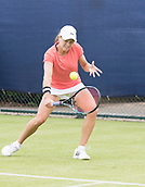 June 10th 2017,  Nottingham, England; WTA Aegon Nottingham Open Tennis Tournament day 1; Backhand from Ashley Weinhold of USA who defeated Isabella Shinkova of Bulgaria in two sets