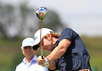 Javier Gallegos (ESP) on the 1st tee during Round 1 of the Challenge de Madrid, a Challenge  Tour event in El Encin Golf Club, Madrid on Wednesday 22nd April 2015.<br /> Picture:  Thos Caffrey / www.golffile.ie