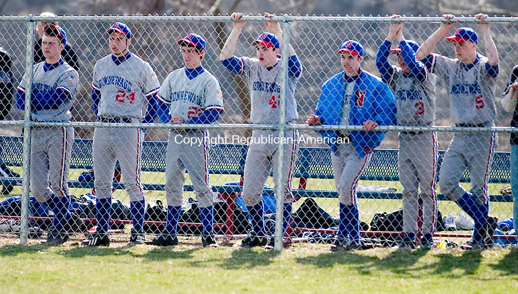 WOODBURY, CT- 11 APRIL 07- 041107JT12- <br /> The Nonnewaug baseball team watches their teammates during Wednesday's game at Nonnewaug.<br /> Josalee Thrift Republican-American