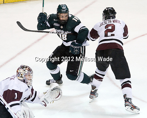 Kevin Walrod (MSU - 18), Nolan Julseth-White (Union - 2) - The Union College Dutchmen defeated the Michigan State University Spartans 3-1 in their NCAA East Regional semifinal on Friday, March 23, 2012, at the Webster Bank Arena in Bridgeport, Connecticut.