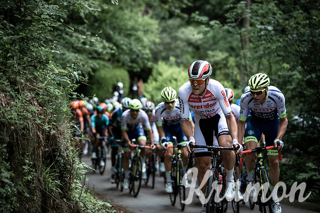 Lasse Norman Hansen (DEN/Corendon Circus) leading the chase in the peloton. <br /> <br /> <br /> Circuit de Wallonie 2019<br /> One Day Race: Charleroi – Charleroi 192.2km (UCI 1.1.)<br /> Bingoal Cycling Cup 2019