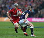 Jonathan Davies of Wales faces up to Finn Russell of Scotland - RBS 6Nations 2015 - Scotland  vs Wales - BT Murrayfield Stadium - Edinburgh - Scotland - 15th February 2015 - Picture Simon Bellis/Sportimage