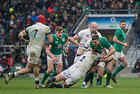 Twickenham, United Kingdom. Dylan Hartley, tackling, Jonny SEXTON,  Natwest 6 Nations : England vs Ireland. at the  RFU Stadium, Twickenham, England, <br />