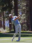 Mark Mulder swings during the ACC Golf Tournament at Edgewood Tahoe Golf Course in South Lake Tahoe on Sunday, July 14, 2019.