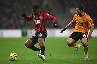 23rd November 2019; Vitality Stadium, Bournemouth, Dorset, England; English Premier League Football, Bournemouth Athletic versus Wolverhampton Wanderers; Jefferson Lerma of Bournemouth under pressure from Jonny of Wolverhampton Wanderers - Strictly Editorial Use Only. No use with unauthorized audio, video, data, fixture lists, club/league logos or 'live' services. Online in-match use limited to 120 images, no video emulation. No use in betting, games or single club/league/player publications
