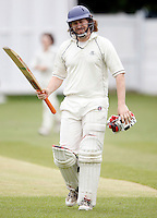 O Johnson of South Hampstead shows his despair after being dismissed during the Middlesex County Cricket League Division Two game between North Middlesex and South Hampstead at Park Road, Crouch End on Saturday June 12, 2010