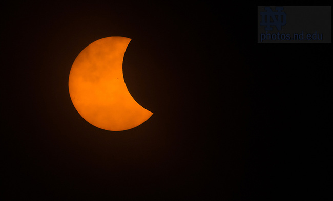 August 21, 2017; Partial solar eclipse. (Photo by Barbara Johnston/University of Notre Dame)