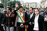 &copy;PATRICIO CROOKER<br /> La Paz, Bolivia<br /> A picture dated January 22, 2006 shows Bolivian President Evo Morales walking from the Congress Building to the Government Palace during the inaguration of Evo Morales at the balcony of the Government Palace.