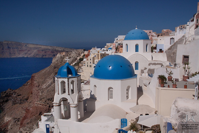 Church and cliffs in Oia, Santorini