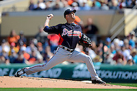 Atlanta Braves pitcher Tim Hudson #15 during a Spring Training game against the Detroit Tigers at Joker Marchant Stadium on February 27, 2013 in Lakeland, Florida.  Atlanta defeated Detroit 5-3.  (Mike Janes/Four Seam Images)