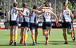 Iona College celebrate after defeating Napier Girls High in the Federation Cup final. Federation Cup Secondary Schools hockey finals. Whangarei,  New Zealand. Saturday 8 September 2018, photo: Simon Watts/www.bwmedia.co.nz/Hockey NZ