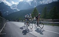 Vasil Kiryienka (BLR/SKY), Johan Esteban Chaves (COL/Orica-GreenEDGE) & Pieter Weening (NLD/Orica GreenEDGE) roll in 37 minutes after stage winner Aru<br /> <br /> Giro d'Italia 2015<br /> stage 19: Gravellona Toce - Cervinia (236km)