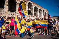 Ecuadorian fans celebrating the first Ecuadorian Grand Tour win by Richard Carapaz (ECU/Movistar) outside the Verona amphitheater<br /> <br /> Stage 21 (ITT): Verona to Verona (17km)<br /> 102nd Giro d'Italia 2019<br /> <br /> ©kramon