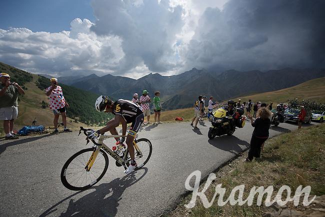 Daniel Teklehaimanot (ERI/MTN-Qhubeka) just received a water bottle up the Col d'Allos (1C/2250m/14km/5.5%)<br /> <br /> stage 17: Digne-les-Bains - Pra Loup (161km)<br /> 2015 Tour de France