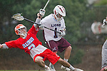 Los Angeles, CA 03/23/11 - Dan Dickson (Illinois #2) and Marc Napp (LMU #1) in action during the Illinois-LMU non conference MCLA game at Loyola Marymount University.