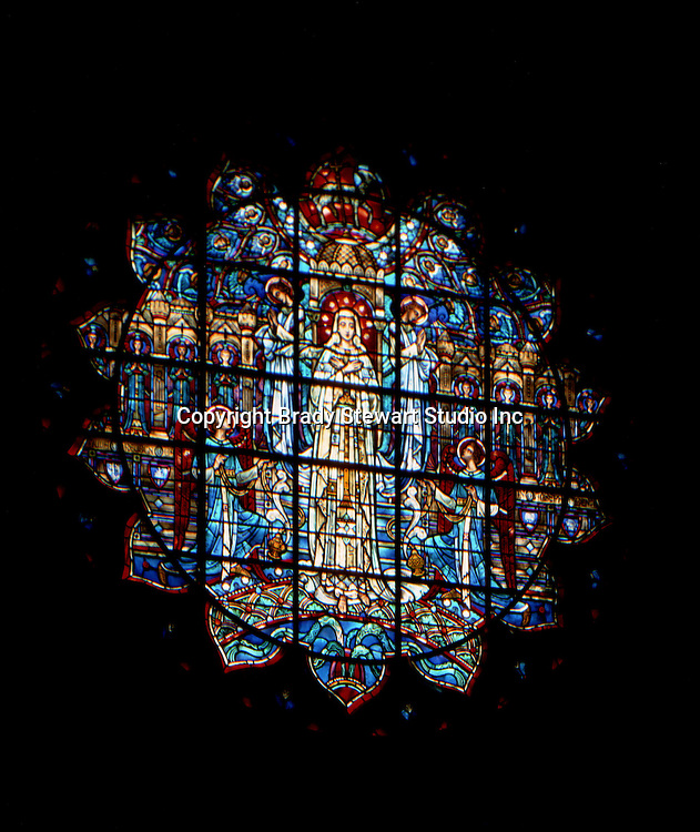 East Liberty section of Pittsburgh PA:  East Liberty Presbyterian Church; the New Jerusalem Window in the East Transept - 1977.  This image is included in the book; The Art and Architecture of the East Liberty Presbyterian Church.  This window was designed by D'Ascenzo Studios of Philadelphia.