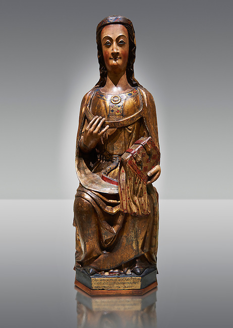 Gothic wood statue of a Saint by the St Bertrand de Cominges Group of artists. Polychrome wood carving with varnished metal-plating.  National Museum of Catalan Art, inv no: 064015-000