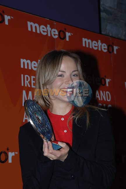 Gemma Hayes at the  Meteor Awards at the Point Depot in Dublin.Photo NEWSFILE/Colin Bell..(Photo credit should read Colin Bell/NEWSFILE)...This Picture has been sent you under the condtions enclosed by:.Newsfile Ltd..the Studio,.Millmount Abbey,.Drogheda,.Co Meath..Ireland..Tel: +353(0)41-9871240.Fax: +353(0)41-9871260.GSM: +353(0)86-2500958.email: pictures@newsfile.ie.www.newsfile.ie.FTP: 193.120.102.198..This picture is from Fran Caffrey@newsfile.ie