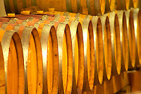 Cave P et Andre Perret in Chavanay, making Condrieu, Saint Joseph, Cote Rotie.  In the winery. In the barrel aging cellar. Oak barrels with ageing wine.  Detail of barrel ends.  Andre André P et A Perret, Chavanay, Rhone, France, Europe