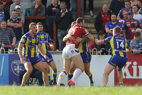 July 1st 2017, Beaumont Legal Stadium, Wakefield, England; The Betfred Super Leauge; Wakefield Trinity versus Warrington Wolves; Keegan Hirst of Wakefield Trinity trying to break Warrington's defence