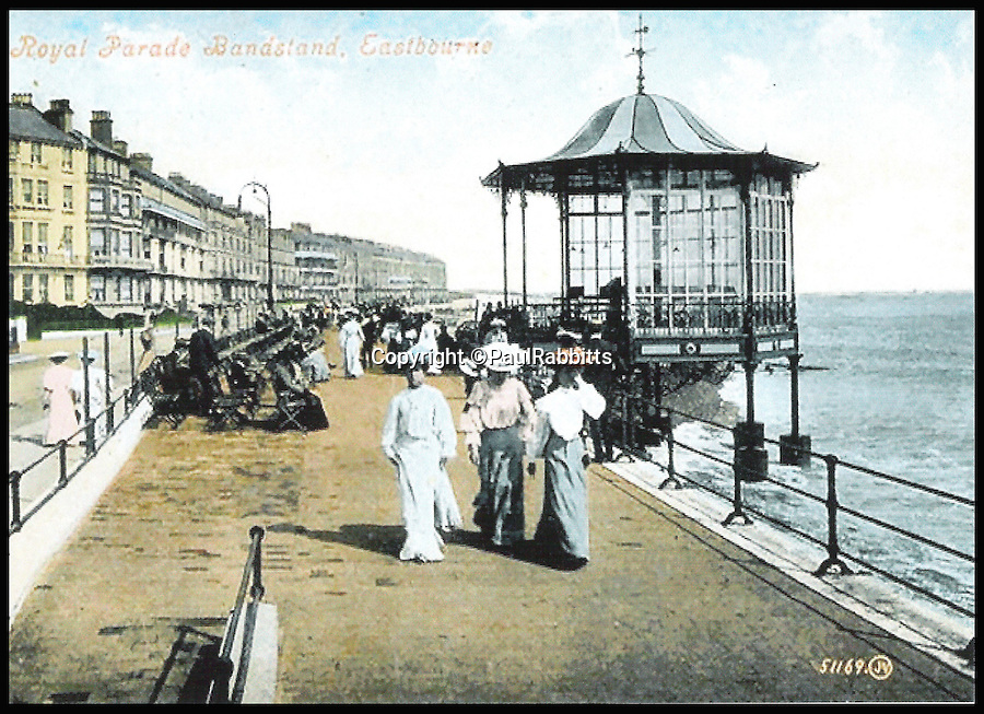 BNPS.co.uk (01202 558833)<br /> Pic: PaulRabbitts/BNPS<br /> <br /> ***Please Use Full Byline***<br /> <br /> The bandstand on Eastborne seafront. Lost, date unknown. <br /> <br /> A landscape gardener is trumpeting the great British creation of the bandstand after touring the country's parks to study the iconic structures for a new book.<br /> <br /> Paul Rabbitts' work is a celebration of the Victorian platforms and a throwback to the halycon days of outdoor music when thousands of people would gather in public parks for a brass band performance.