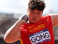 06.08.2012. London, England.  Gong Lijiao of China  competes in the  womens Shot Put Qualification Match  London 2012 Olympic Games