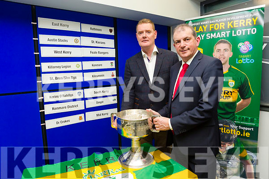 Garvey's Senior Football Championship Semi Final Draw took place at the Austin Stack Park Pavilion on Monday. Pictured Tim Murphy County Board Chairman and Kevin McCarthy, Garvey's