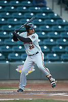Jomar Reyes (26) of the Frederick Keys at bat against the Winston-Salem Dash at BB&T Ballpark on April 26, 2019 in Winston-Salem, North Carolina. The Keys defeated the Warthogs 7-0. (Brian Westerholt/Four Seam Images)